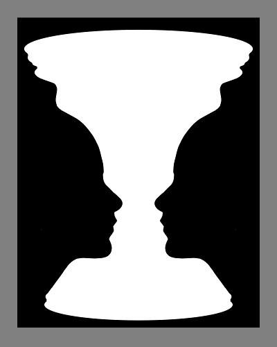 Rubin vase illusion http://scholarpedia.org/w/images/a/ad/Rubin-face-vase.png