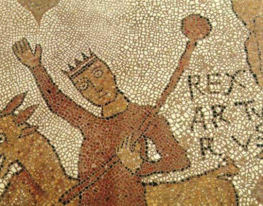 Rex Arturus: detail of 12th-century mosaic, Otranto Cathedral, Italy