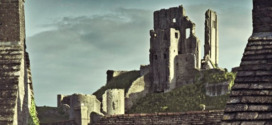 Corfe Castle from an old postcard