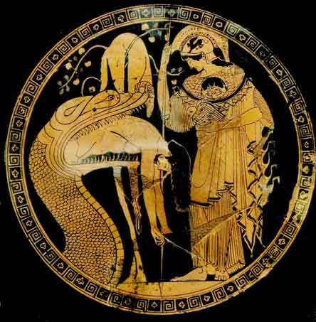 Jason disgorged by the dragon of Colchis, with Athena and the Golden Fleece:  vase figure in Vatican Museum
