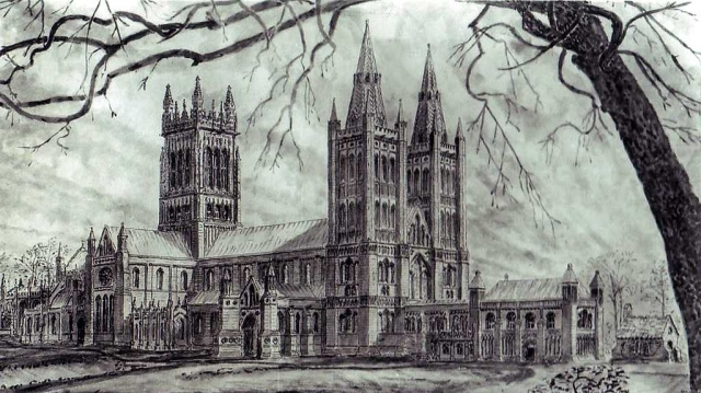 1935 reconstruction by A E Henderson of Glastonbury Abbey before the Dissolution
