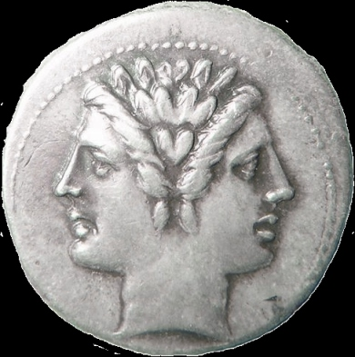 Janus on a 3rd-century coin (Wikipedia Commons)