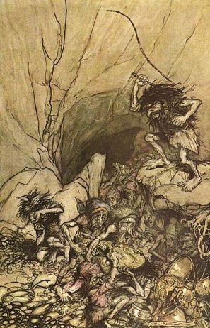 Arthur Rackham's illustration of Alberich and the dwarves