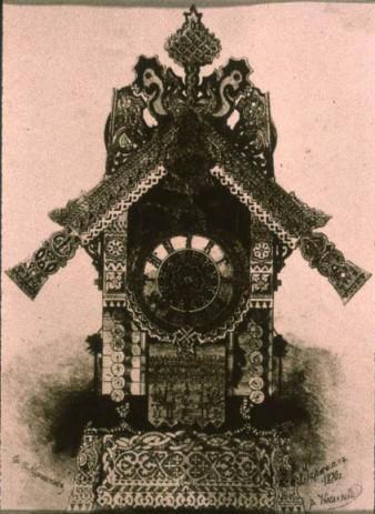 The Hut on Fowl's Legs: clock design by Hartmann
