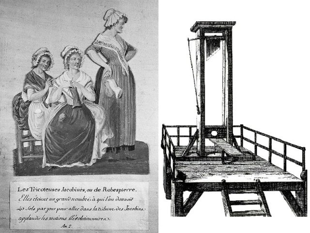 Tricoteuses (Wikipedia Commons) and La Guillotine