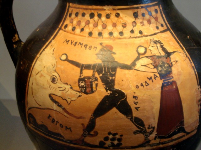 Cetus, Perseus and Andromeda, from a Corinthian vase (Wikipedia Commons)
