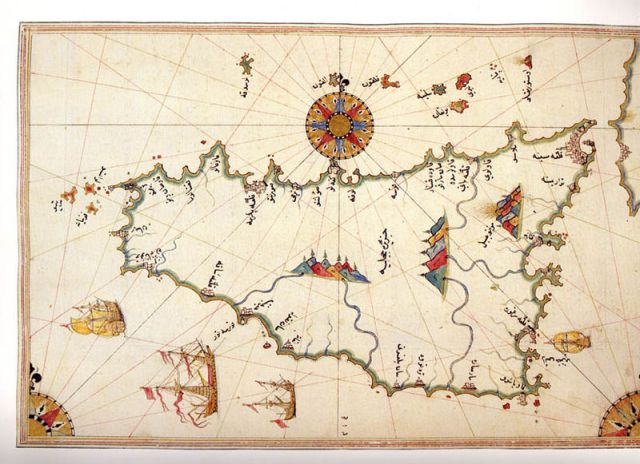 Historical map of Sicily by Piri Reis (Public Domain)