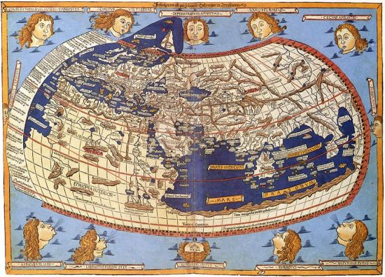 World map from the Ulm edition of Ptolemy's Geographia 1482 (public domain image)