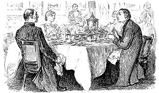 """George du Maurier cartoon """"True Humility"""" from Punch 1895 Right Reverend Host. """"I'm afraid you've got a bad Egg, Mr. Jones!"""" The Curate. """"Oh no, my Lord, I assure you! Parts of it are excellent!"""""""