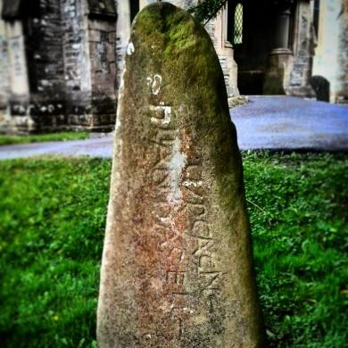 Dark Age inscribed stone now in Cenarth, Carmarthenshire