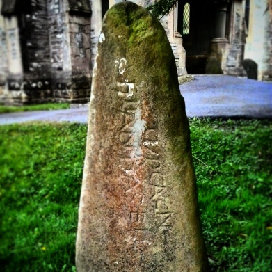 Dark Age inscribed stone now in Cenarth, Carmarthenshire