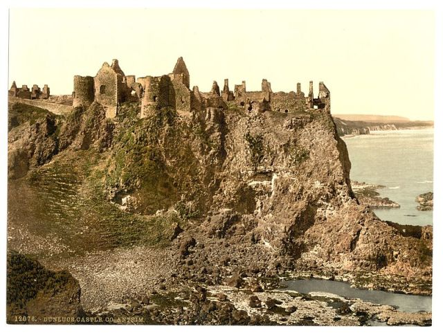 An old photograph of Dunluce Castle, Country Antrim, Northern Ireland: the model for Cair Paravel?