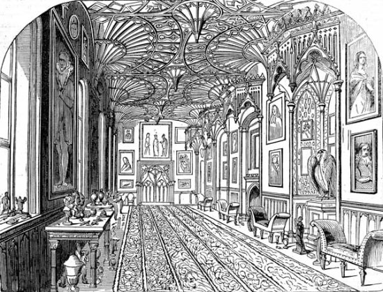 Strawberry Hill gallery in 1842, from The Illustrated London News (image public domain)
