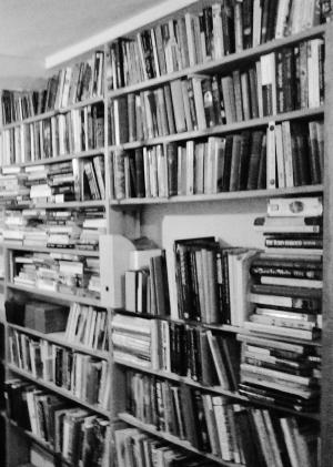 Bookshelves still awaiting sorting