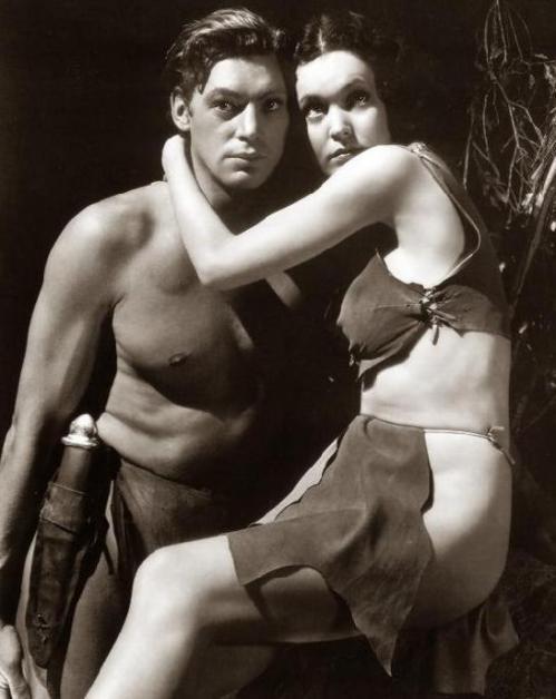 Johnny Weissmuller and Maureen O'Sullivan as Tarzan and Jane