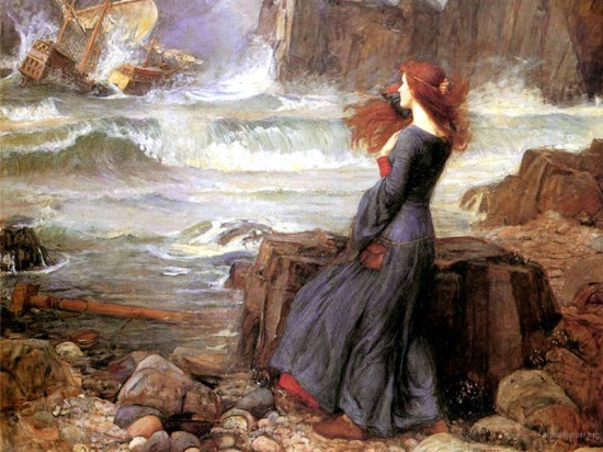 Waterhouse's 1916 portrait of Miranda watching the shipwreck