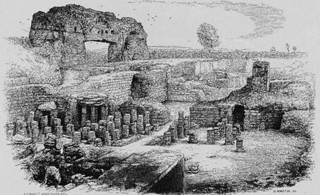 Wroxeter Roman city 19th-century print