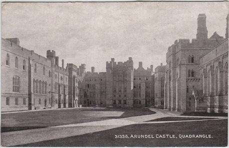 Arundel Castle quadrangle, from an old postcard