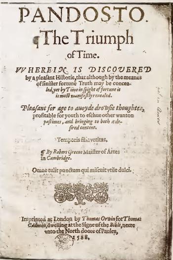 Title page of Richard Greene's Pandosto (public domain: https://archive.org/details/dorastusfawnia00thomuoft
