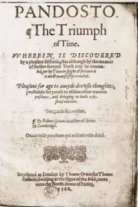 Title page of Richard Greene's Pandosto (public domain)
