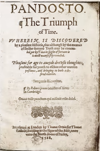 Title page of Richard Greene's Pandosto (public domain: https://archive.org/details/dorastusfawnia00thomuoft