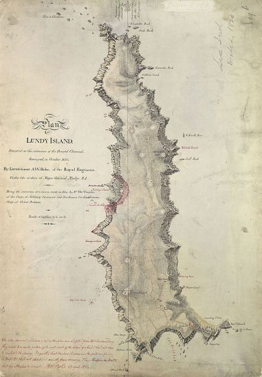 Lundy, Bristol Channel: map by Henry Mangles Denham 1804 [Public domain], via Wikimedia Commons