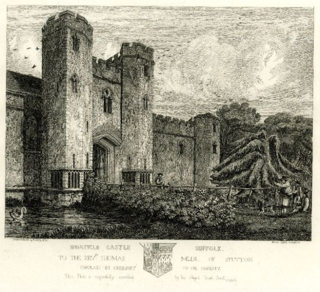 """Wingfield Castle, Suffolk,"" etching, by the British printmaker Henry Davy. 268 mm x 330 mm. Courtesy of the British Museum, London (Wikipedia Commons)"