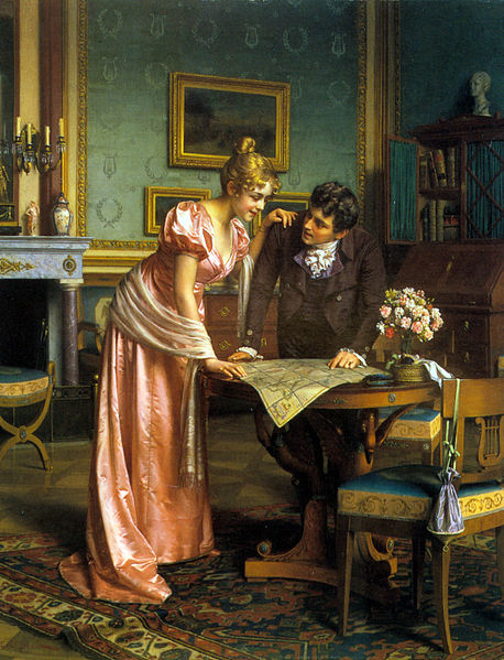 Regency couple planning trip