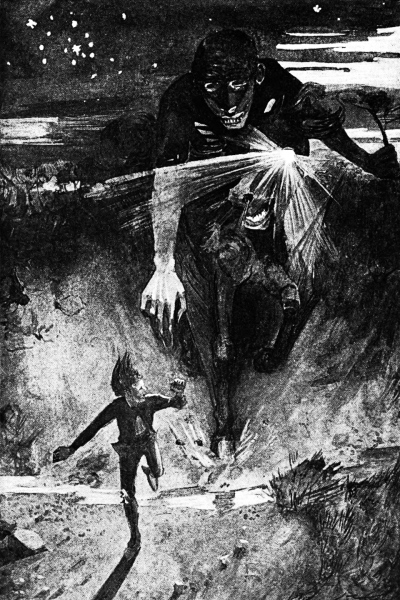 The nuckelavee chasing an islander, painting by James Torrance (1859–1916): public domain