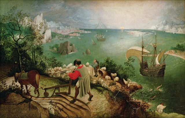Landscape with the Fall of Icarus, c.1555 (oil on canvas) after Bruegel, Pieter the Elder (Musees Royaux des Beaux-Arts de Belgique, Brussels)