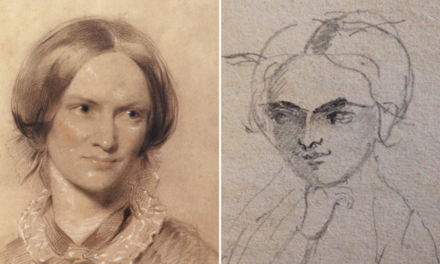 Pencil sketch by Charlotte Brontë, which new research reveals is a self-portrait alongside George Richmond's portrait. https://www.theguardian.com/books/2015/oct/26/charlotte-bronte-sketch-identified-self-portrait