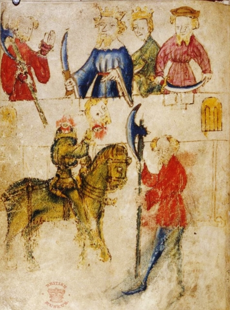 Sir Gawain and King Arthur, with (below) the Green Knight [British Library] http://blogs.bl.uk/digitisedmanuscripts/2012/08/sir-gawain-and-the-green-knight-online.html