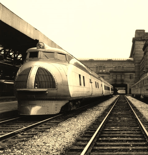 The Union Pacific M-10000 City of Salina at Kansas City Union Station, late 1930s. Photo credit: Union Pacific Museum