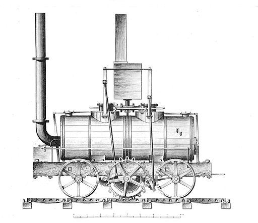 Blenkinsop's rack locomotive (1812) (credit: British Railway Locomotives 1803-1853, public domain)