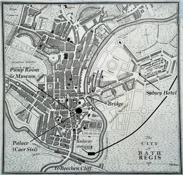Late 18th-century plan of Bath with Bath Regis locations superimposed