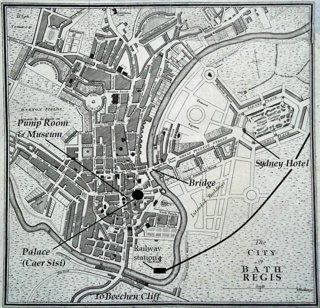 Late 18th-century plan of Bath with Bath Regis locations superimposed