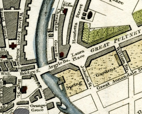 Detail of 1810 plan of Bath showing Orange Grove, Pulteney Bridge, the river and Great Pulteney Street