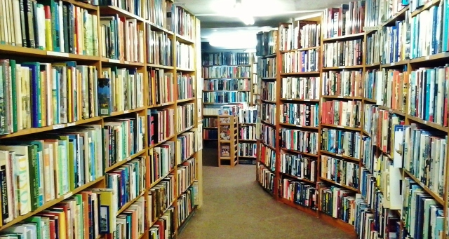 Bookshelves in secondhand bookshop, Ross-on-Wye, Herefordshire