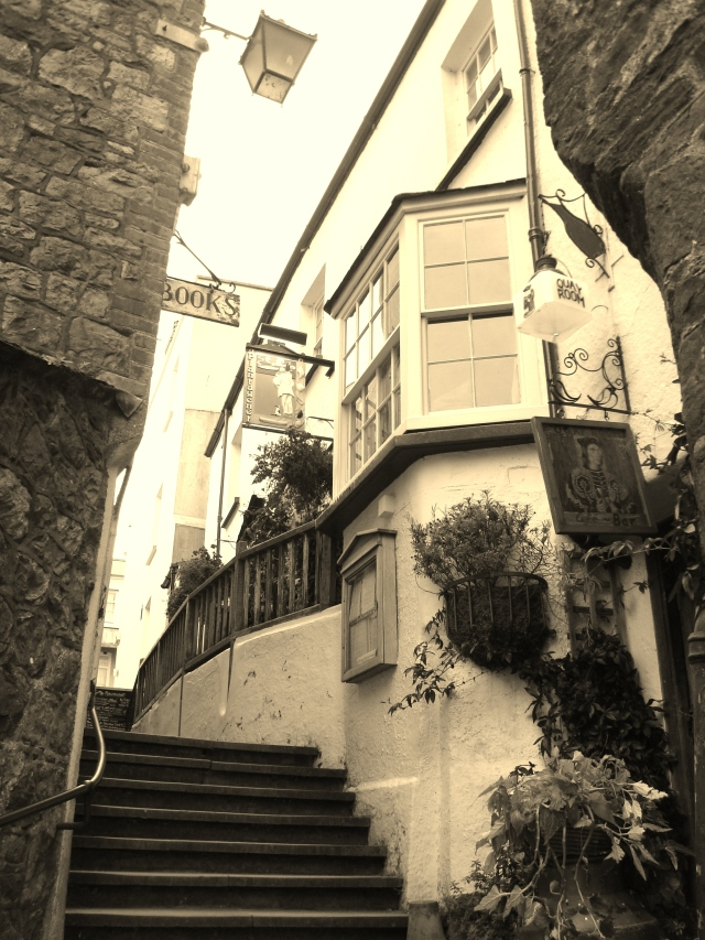 A stepped street in Tenby, Pembrokeshire